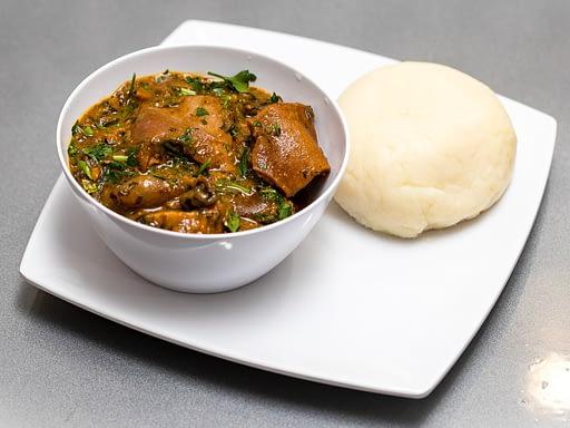 Keobi Ogbonno Soup with Iyan